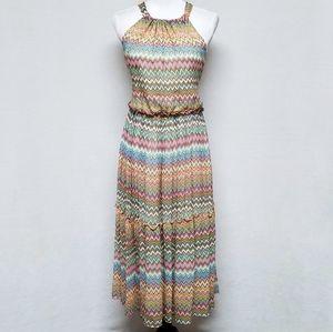 Sundance Silk Chevron Ruffle Maxi Halter Dress